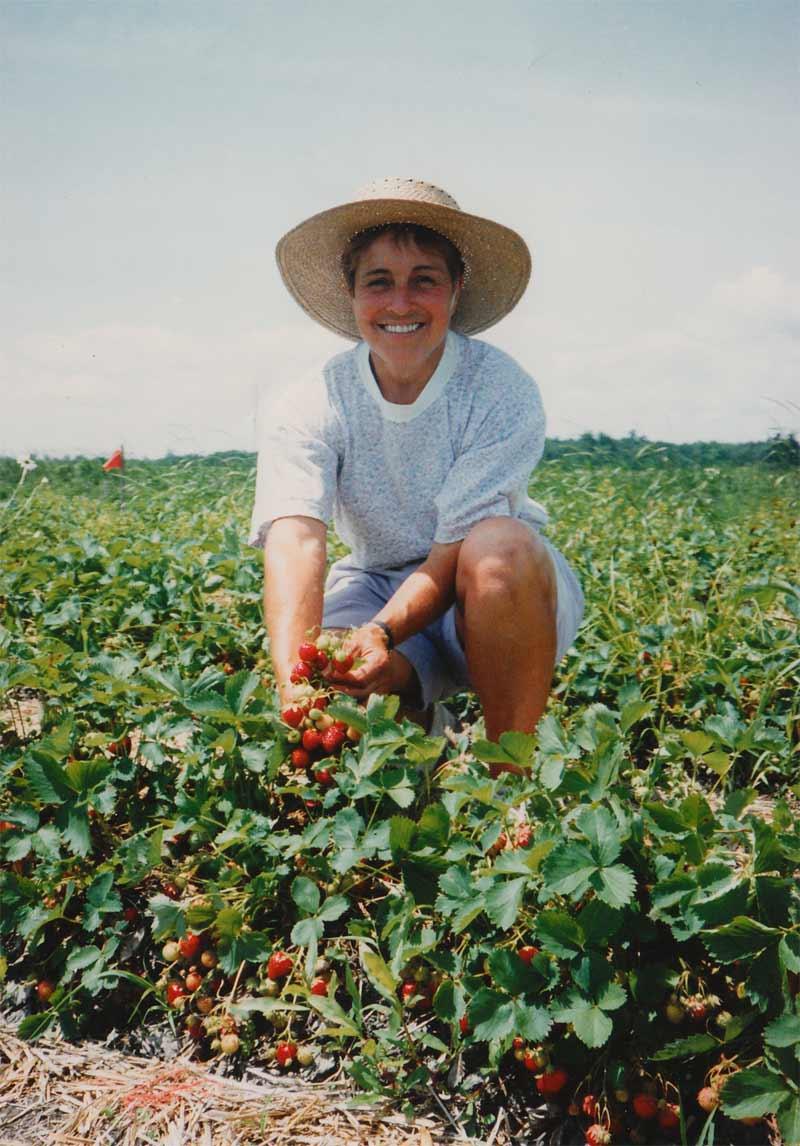 Mariette, qui s'est occupée pendant plusieurs années, d'accueillir les gens à l'auto cueillette de fraises.